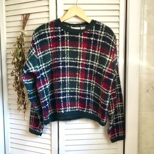 {Vintage} Crop Style Chunky Winter Plaid Sweater S